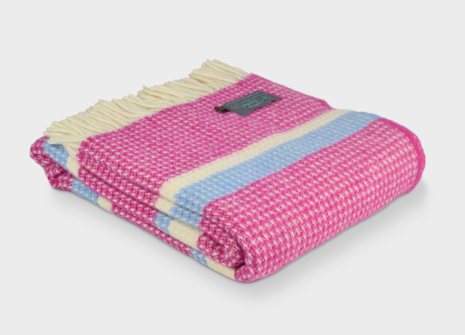 Pink and Blue striped waffle wool blanket