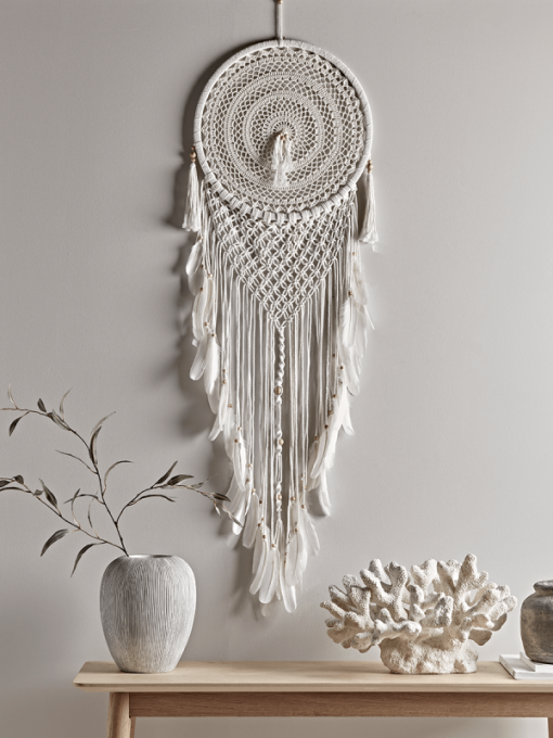 Large Macrame Dream Catcher with feathers